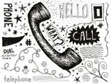 Illustration of telephone and means of contact